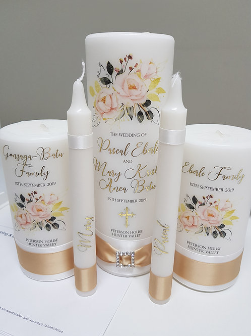 Romantic Unity Candle Set, Main Candle  2 x Family, and Taper Candles