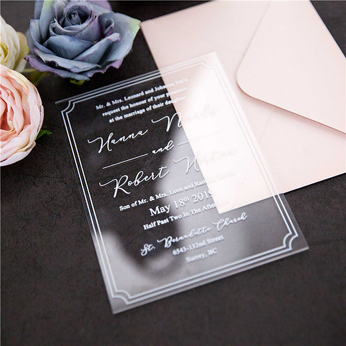 50 x Clear Acrylic Pure White 1mm Acrylic Invitations