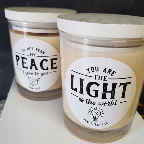 Christian Inspired Scented Candles - Handmade Soy Candle with Wooden White Lid