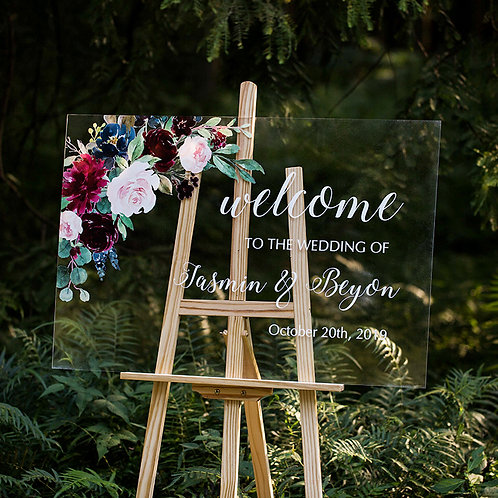 Burgundy and Blush Pink Acrylic Wedding Welcome Signs, Welcome Signage, Weddings