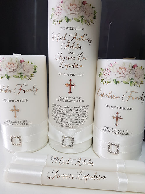 Classic White Diamond Unity Candle Set, 1 x Main Candle  2 x Family Candles