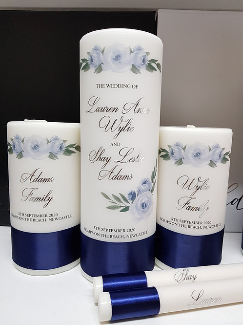 Pastel Blue Floral & White Unity Candle Set - 1 x Main Candle  2 x Family