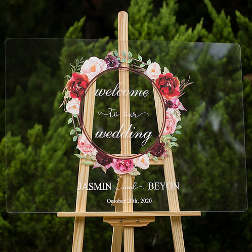 Burgundy Floral Wreath Acrylic Signage for your Wedding, Welcome Sign