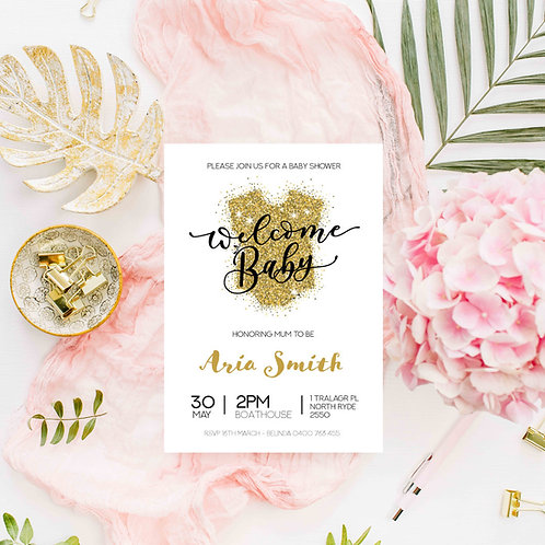 Welcome Baby - Baby Shower Invitations - Digital File Only