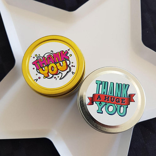 Retro Thank you Candle Favours - 2oz Candle Tin