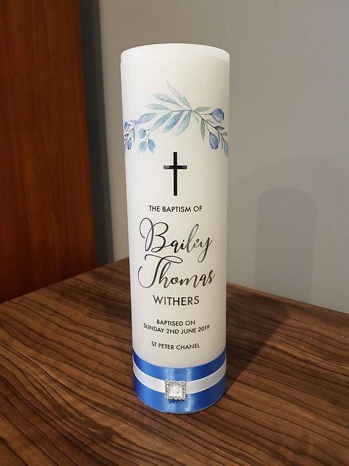 Floral Blue Boy's Personalised Baptism Candle, Name Day, Christening Candle
