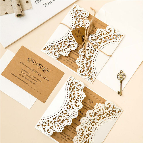 50 Vintage Rustic Themed Wedding Invitation Suite