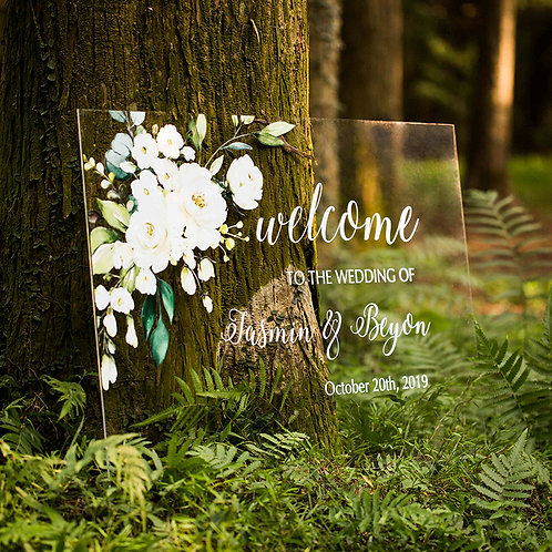 Rural White and Green Acrylic Wedding Welcome Signs, Welcome Signage