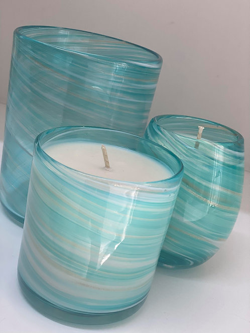 Large Mint Blue Swirl Scented Soy Candle