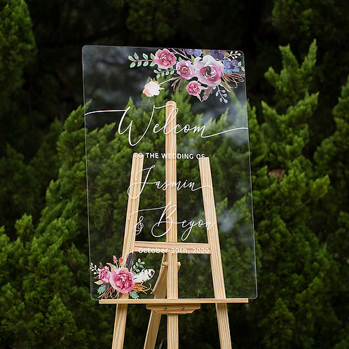 Pink & Purple Floral Acrylic Wedding Welcome Signs, Welcome Sign