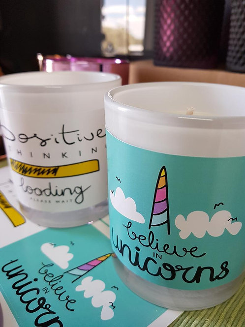 Believe in Unicorns - Large White Scented Soy Candle with Gold Lid