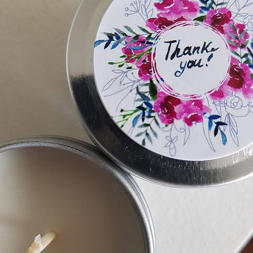 12 - Floral Thank you Design Soy Candle Favours