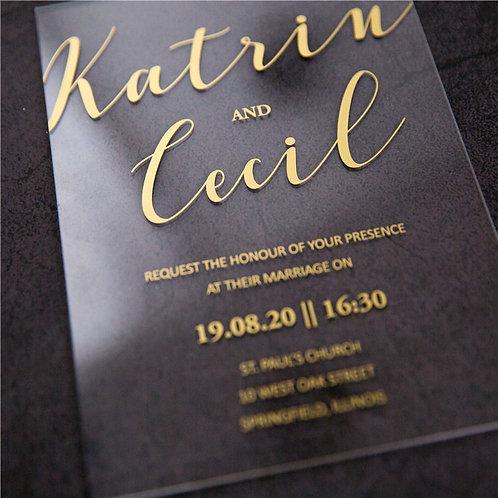 50 x Chic Gold Foil 1mm Acrylic Invitations