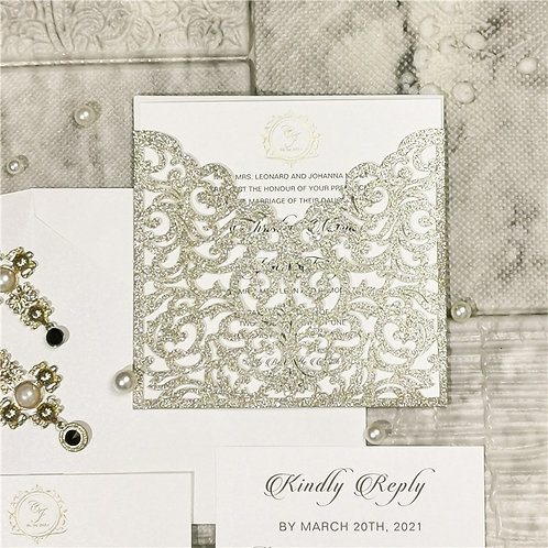 50 Stylish White & Gold Glitter Wedding Invitation Suite