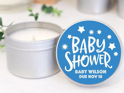 12 - Baby Shower 2oz Personalised Handmade Soy Candle Favours