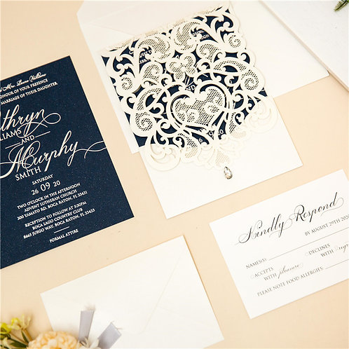 50 White Lace & Navy Wedding Invitation Suite