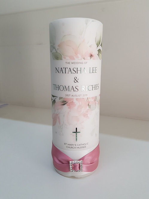 Soft Pastel Floral Unity Candle, Personalise Wedding Candles