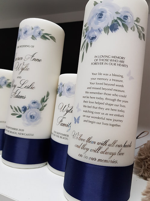 Floral Blue Memorial Candle - In memory of loved ones