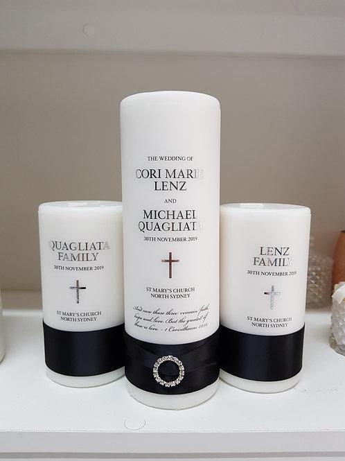 Stylish Black & White Unity Candle Set, 1 x Main Candle  2 x Family Candles