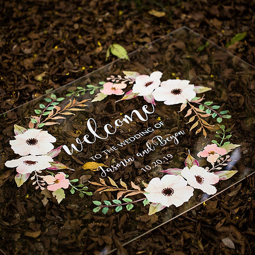 Chic & Colourful Floral Acrylic Signage for your Wedding, Welcome Signage