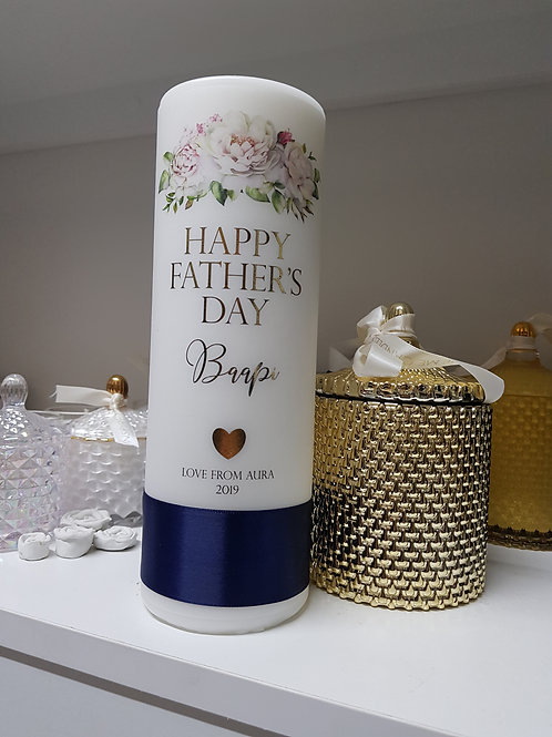 Father's Day Pillar Candle, Personalise Pillar Candles, Father's Day Gift