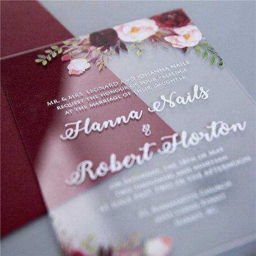 50 x Colourful Burgundy Floral 1mm Acrylic Invitations