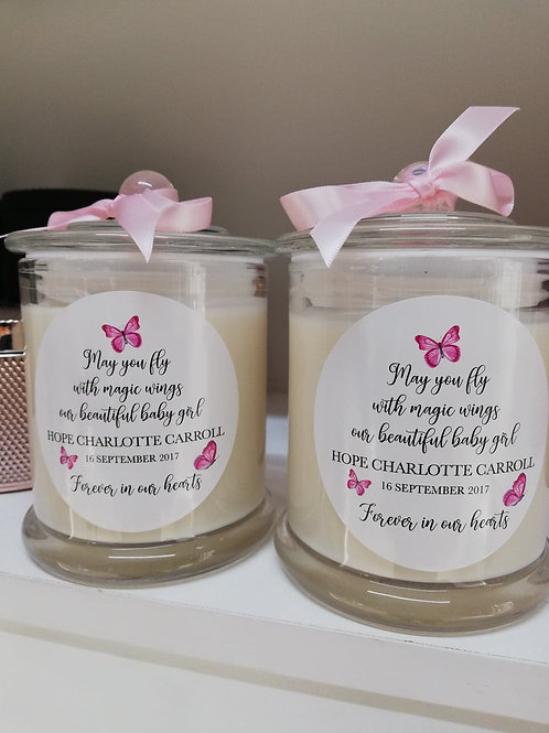 'Butterflies' Large Soy Glass Memorial Candle, Remembrance