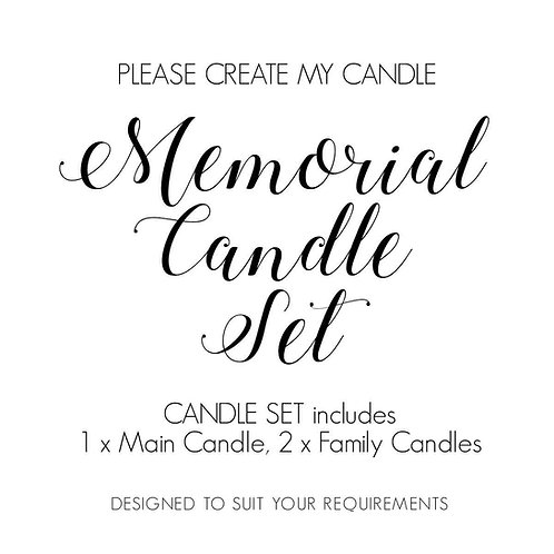 Memorial Candle Set, 1 x Main Candle  2 x Matching Family Candles