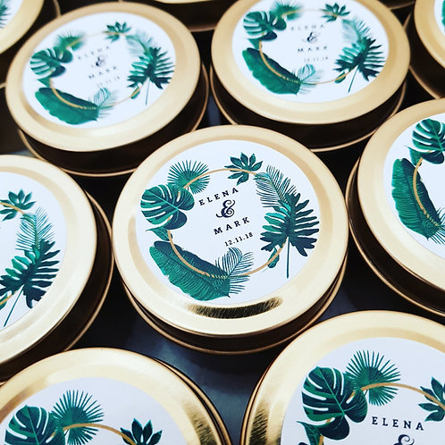 24 - 2oz Tropical Leaf Personalised Wedding Candle Favours - Event Cand
