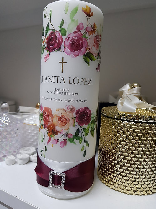 Roses Floral Baptism Candle, Personalise Pillar Candles
