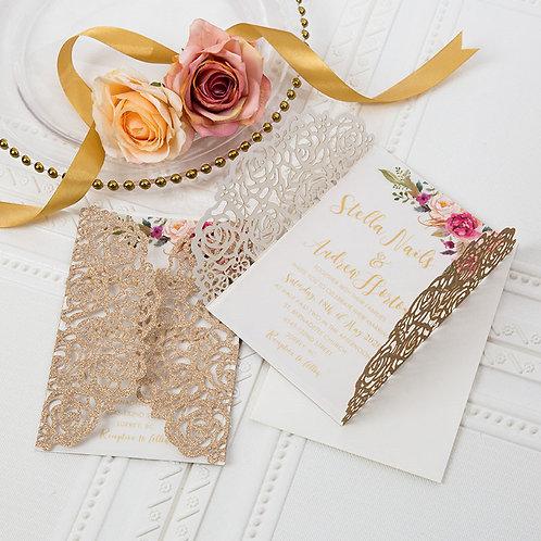 50 Pastel Pink Rose & Ivory Lace Floral Wedding Invitation Suite