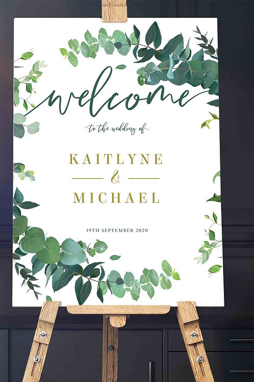 Floral Wreath Welcome Signage - Printed in either A1 or A0