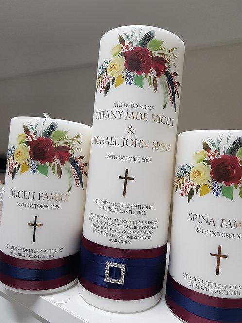 Boho Chic Burgundy Unity Candle Set, 1 x Main Candle  2 x Family Candles