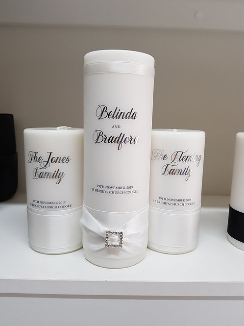 White Romantic Unity Candle Set - Main Candle & 2 Family Candles