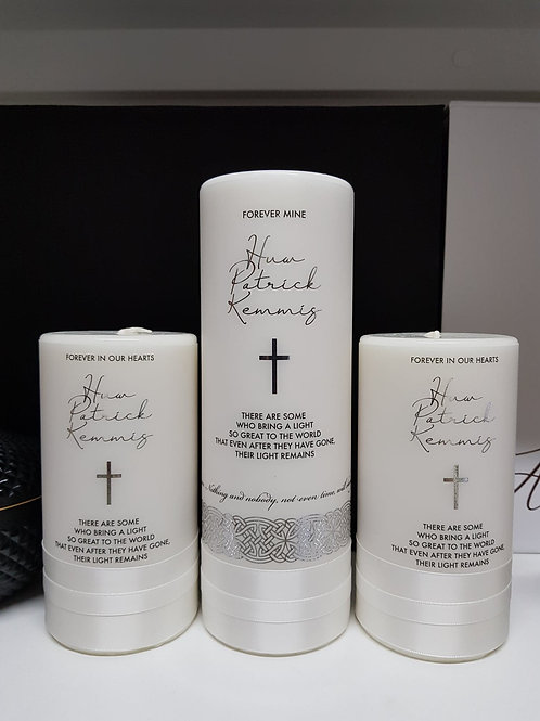 Silver & White Memorial Candle Set, Pillar Candle, Remembrance; Funeral candle