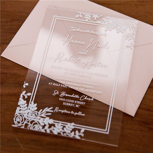 50 Boho Chic White Floral 1mm Acrylic Invitations