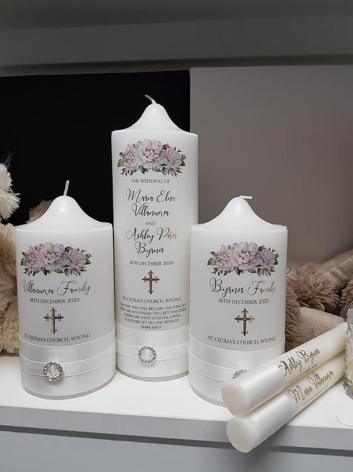 Church Pillar Classic White Unity Candle Set - 5 Candles