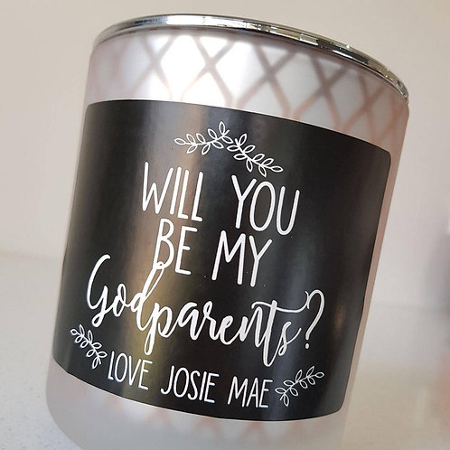 Handmade 'Will you be my Godparents? Personalised Candle. Baptism Candle