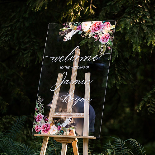 Pink Rose and Feather Acrylic Wedding Welcome Signs