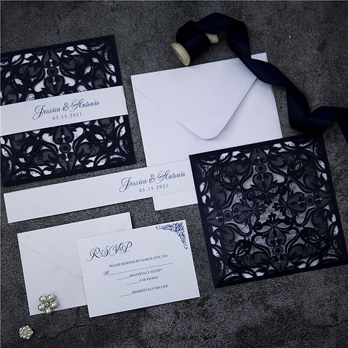 Navy Lace Floral Wedding Invitation Suite
