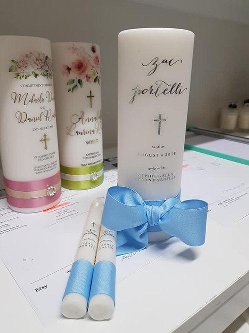 Luxury Ribbon Personalised Baptism Candle Set, Name Day, Christening