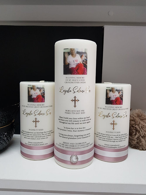 Precious Memorial Candle Set, Pillar Candle, Remembrance; Funeral candle