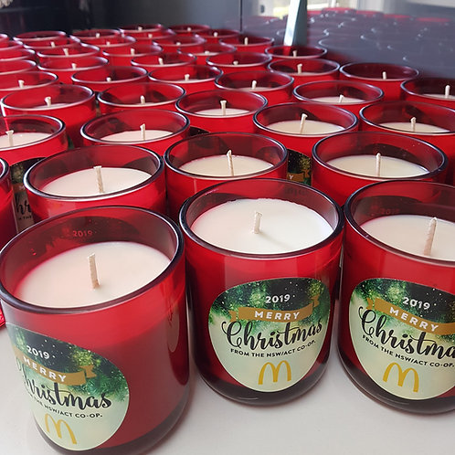 12 x YOUR LOGO DESIGNED Christmas CANDLES - Corporate Gift Idea