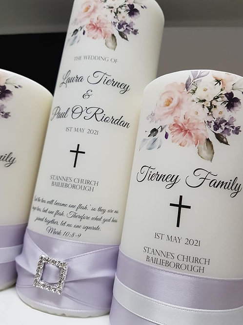 Unity Candle Set, Family Candles, Taper Candles, Personalise Wedding Candles