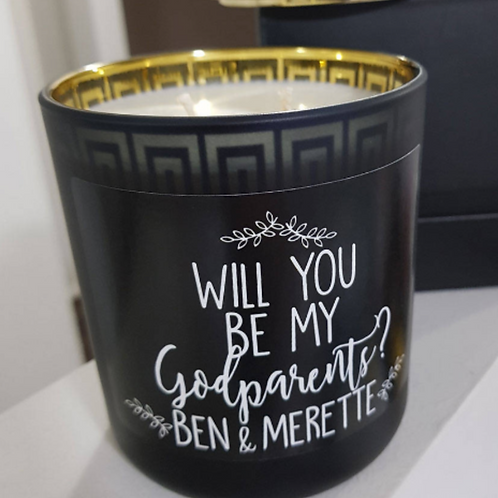 Will you be my Godmother/Godfather/Godparents Personalised Soy Candle