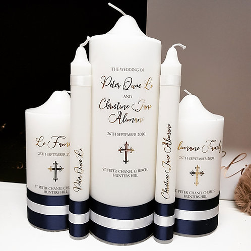 Classic Navy & White Unity Candle Set - 5 Candles