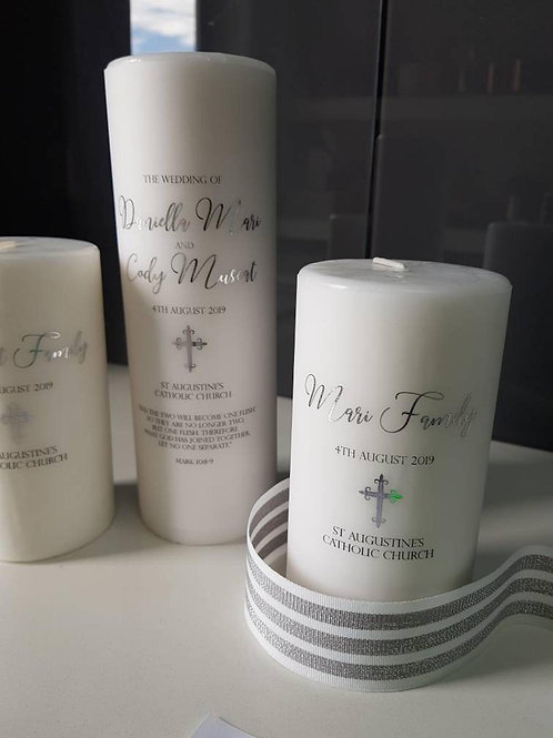 1x Unity Candle, 2 x Family Candles, Personalise Wedding Candles