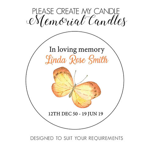 24 x Butterfly Memorial Candles - 4oz Remembrance Favours, Funeral Candles