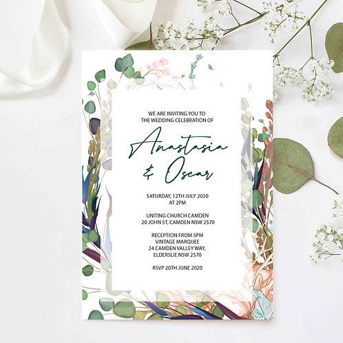 Native Green Wedding Invitation - Digital File