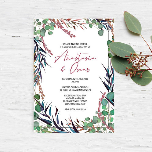 Native Garden Blush & Green Wedding Invitation - Digital File